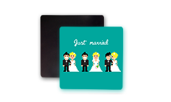 Wedding Square Shape Fridge Magnet