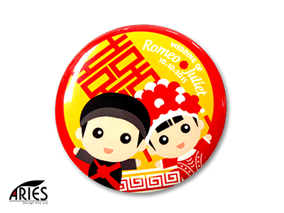 Traditional Chinese Wedding Button Badge